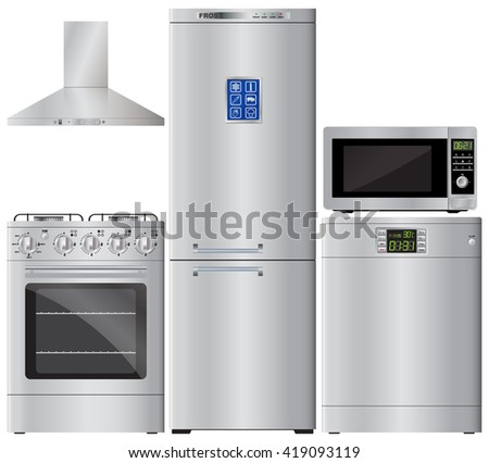 Appliances. Set of household appliances. Refrigerator, stove, dishwasher, microwave, extractor hood. Kitchen hood. Gas cooker. Vector image. - stock vector