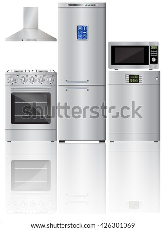 Appliances. Set of household appliances. Refrigerator, stove, dishwasher, microwave, extractor hood. Kitchen hood. Kitchen cooker. Reflection. Vector image. - stock vector