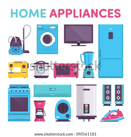 appliances, vacuum cleaner, refrigerator, TV, washing machine, sewing machine, pressure cooker, saucepan, microwave, blender, mixer, air conditioning, coffee maker, heater, iron, speakers music - stock vector