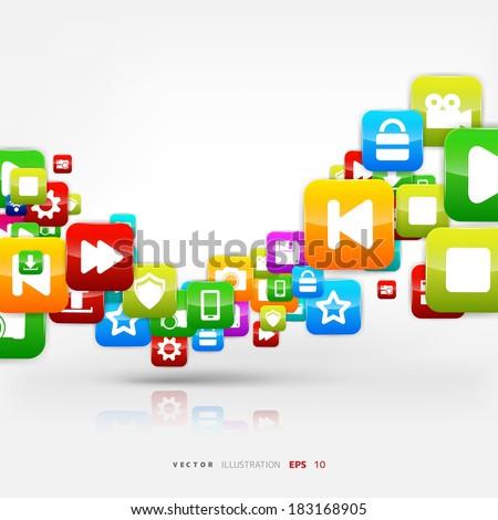 Application button.Social media.Cloud computing. - stock vector