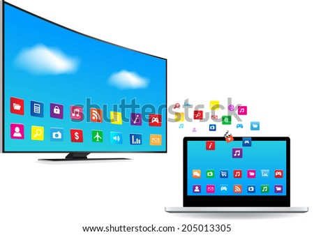 Application coming out  from Laptop and Smart TV on white background - stock vector