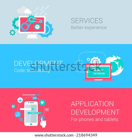 Application development concept flat icons set services monitor gear programming code test debug mobile phone tablet app develop vector web illustration website click infographics elements collection - stock vector