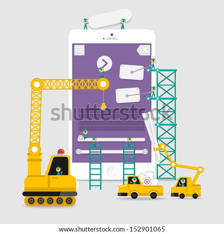 Application display building development infographic style with enginerring to user interface - stock vector