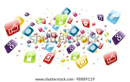 Application icons explotion on white background. Vector file layered for easy manipulation and customisation. - stock vector