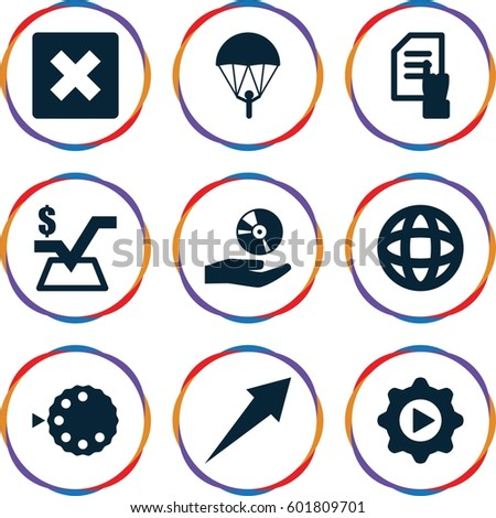 application icons set. Set of 9 application filled icons such as pointing on document, mathematical square, play in gear, CD on hand, camera mode, globe, arrow, parachute