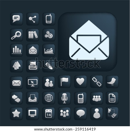 application, office, business, mobile, smartphone, interface, communicaiton icons, signs, illustrations concept design set, vector - stock vector