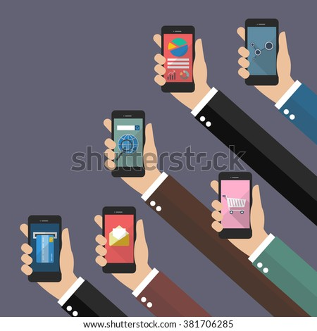Application on mobile concept. Flat style vector illustration - stock vector