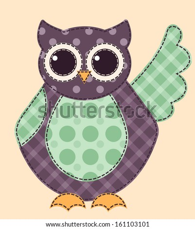 Application owl. Cartoon patchwork illustration for a scrapbook. Vector.  - stock vector