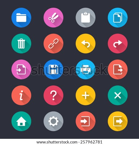 Application toolbar simple color icons - stock vector