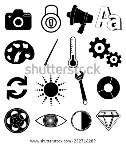applications utility icons set - stock vector