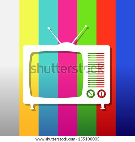 Applique tv set on test image background - stock vector