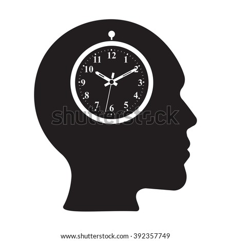appointment brain icon with clock on the white background