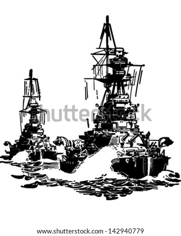Approaching Battleships - Retro Clip Art Illustration - stock vector