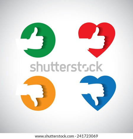 approval like confirmation & ok icon,  - vector concept. This graphic also represents disapproval, like & dislike, validation & invalidation, consent & mandate, etc - stock vector