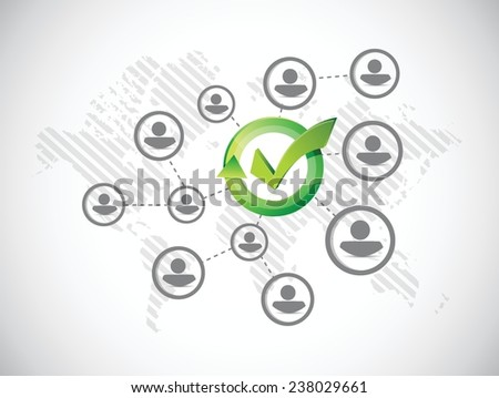 approve people network illustration design over a white background - stock vector