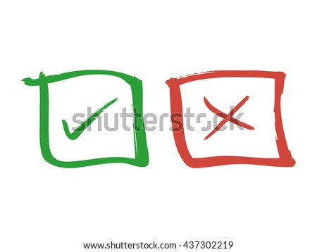 Approved and denied icons. Vector illustration.