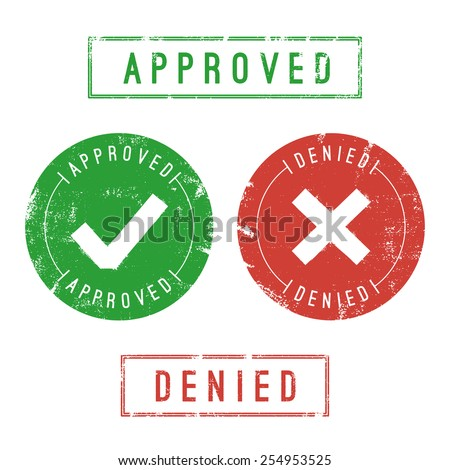 Approved and denied stamps. Vector format. Only solid fills used. - stock vector
