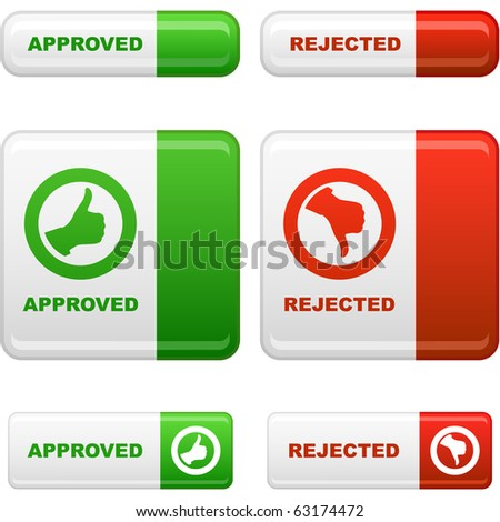Approved and rejected button set. Vector collection. - stock vector
