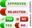 Approved and rejected buttons. Vector set. - stock vector