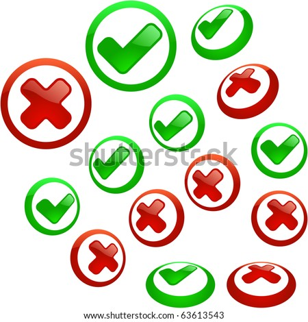 Approved and rejected icon set. - stock vector