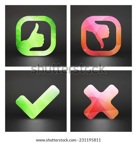 Approved and rejected icons. Vector set.   - stock vector