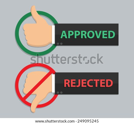 Approved and rejected sign in flat style - stock vector