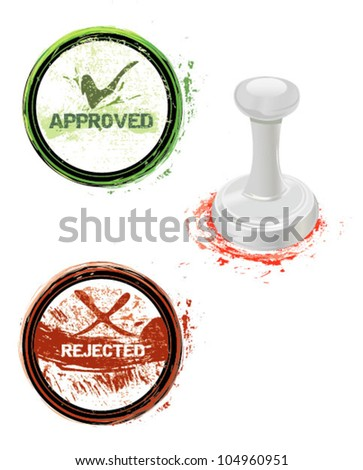 approved and rejected stamps - stock vector