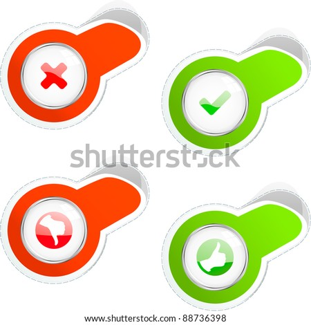 Approved and rejected sticker set. - stock vector