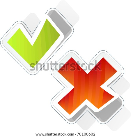 Approved and rejected stickers. - stock vector