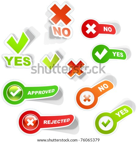 Approved and rejected web elements. Vector illustration. - stock vector