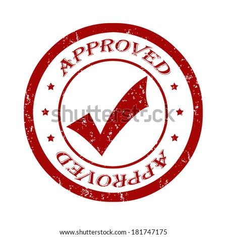 Approved grunge rubber stamp on white, vector illustration - stock vector