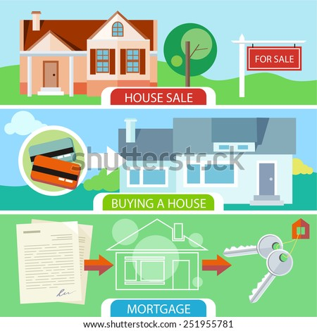 Approved mortgage loan application with house key. Sold home with for sale sign in front of beautiful new house. Buying house money from card for home. Real estate concept - stock vector
