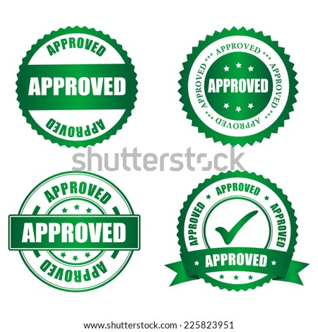 Approved rubber stamp collection on white, vector illustration - stock vector