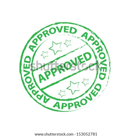 Approved Rubber stamp, sticker, tag, label, sign, icon, symbol. Vector