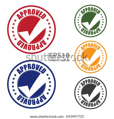 approved with check mark icon, tag, label, badge, sign, sticker isolated on white, vector format - stock vector