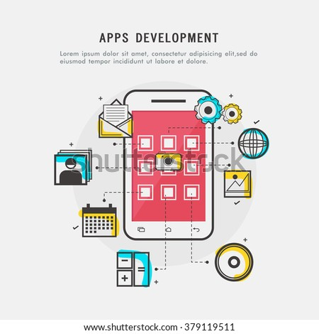 Apps Development concept with Smartphone showing more applications and programmes. - stock vector