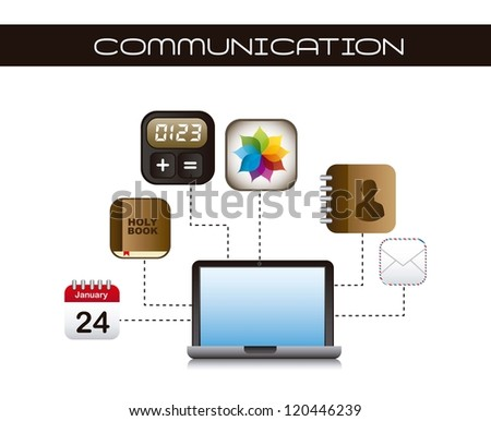 apps icons with laptop over white background. vector - stock vector