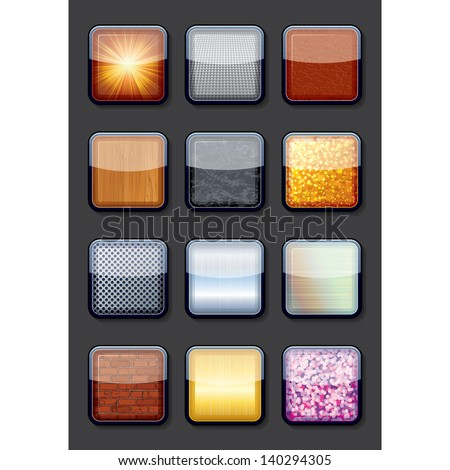 Apps Textured Button Icons. Vector EPS10 - stock vector