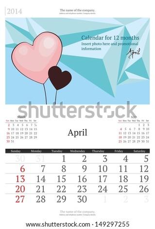 April. 2014 Calendar.  - stock vector