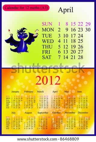 April. 2012 Calendar.Dark blue dragon-New Year's a symbol of 2012. A3 - stock vector
