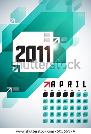 April - Calendar Design 2011 - stock vector