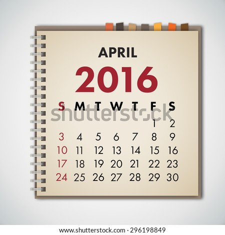April 2016 Calendar Notebook Vector  - stock vector