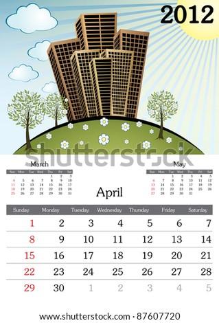 April. 2012 Calendar. Souvenir fonts used. A3 - stock vector