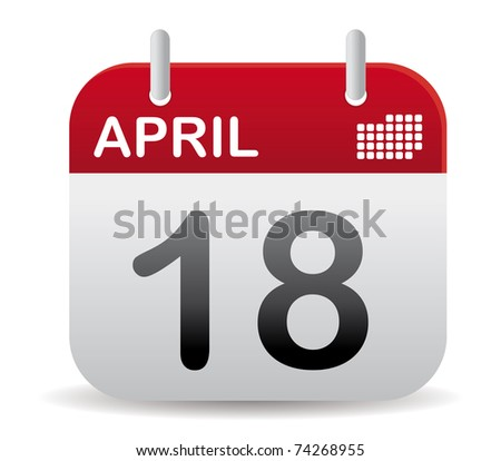 april calendar stand up with shadow - stock vector
