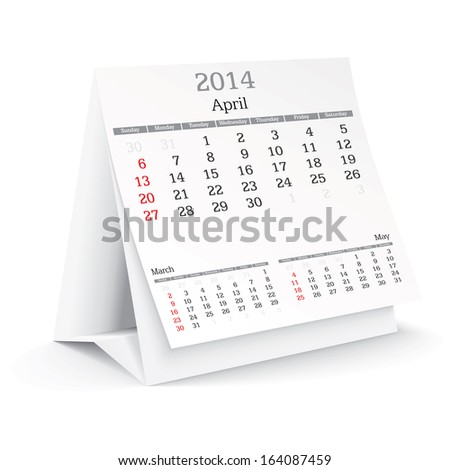 april 2014 - calendar - vector illustration