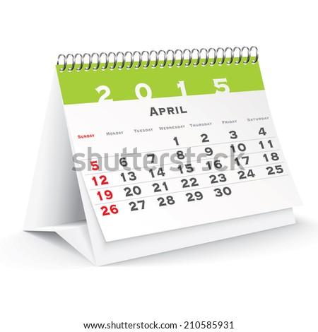 April 2015 desk calendar - vector illustration - stock vector