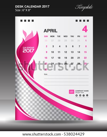 Set Purple Desk Calendar  Template Stock Vector