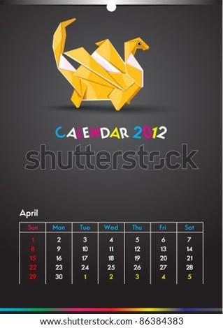 April 2012 Dragon Calendar Template - stock vector