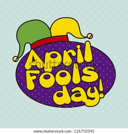 april foods day illustration with jester hat. vector background - stock vector