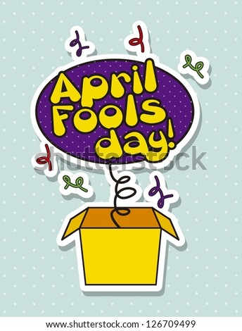 april foods day illustration with surprise box. vector background - stock vector